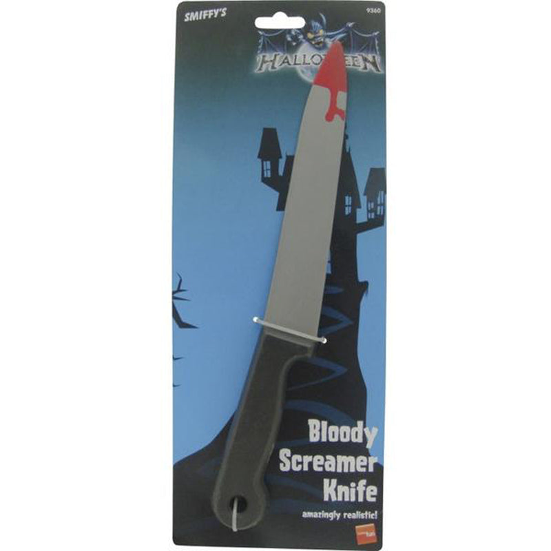 BLOOD STAINED SCREAMER KNIFE from Flingers Party World Bristol Harbourside who offer a huge range of fancy dress costumes and partyware items