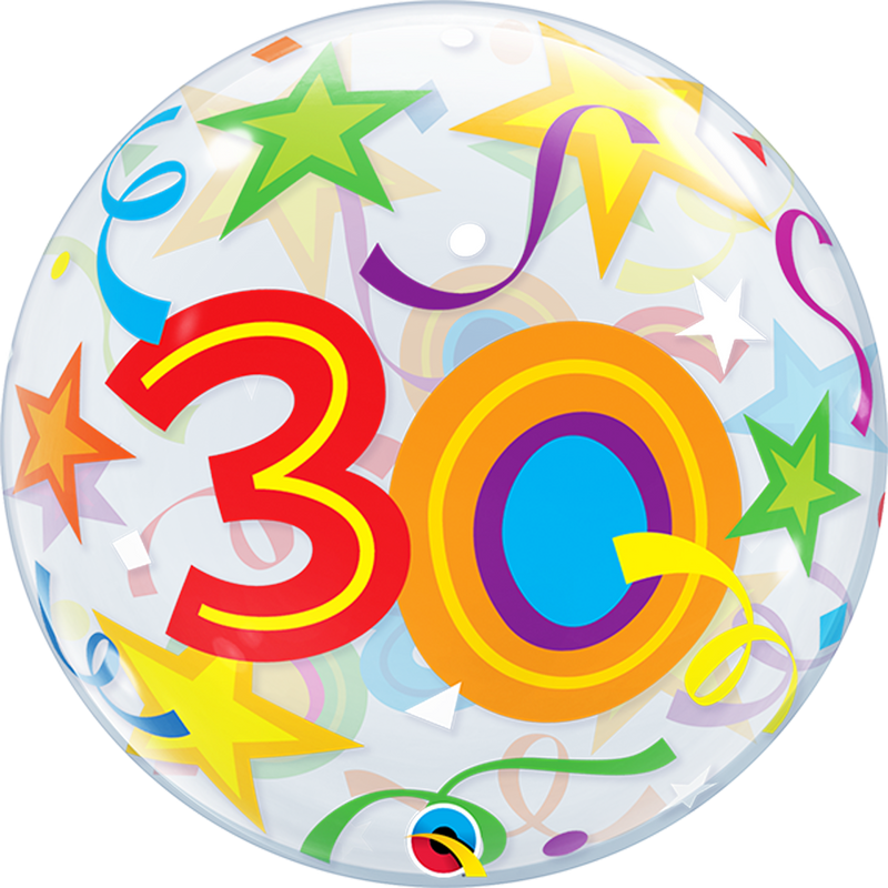 30TH BIRTHDAY STAR BUBBLE from Flingers Party World Bristol Harbourside who offer a huge range of fancy dress costumes and partyware items