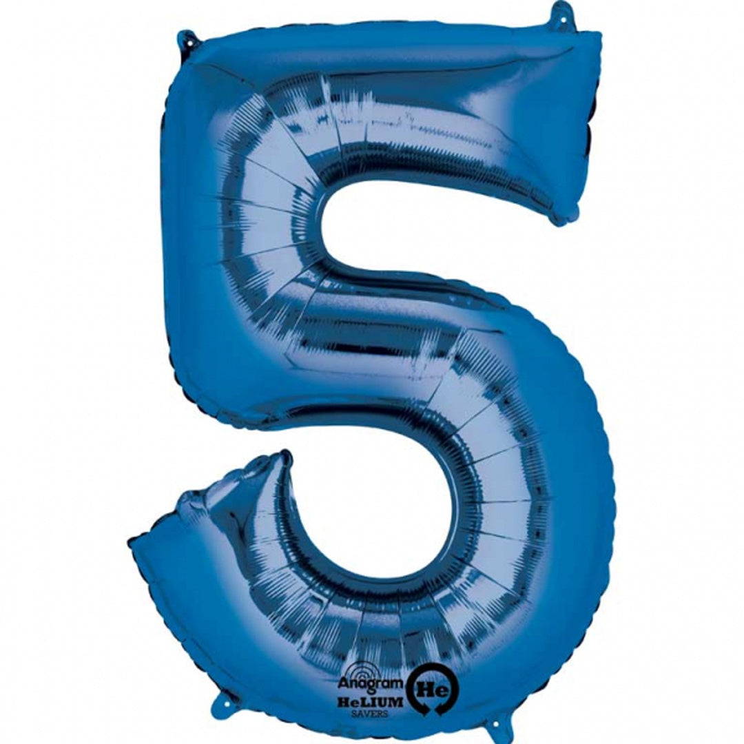 BLUE 5 LARGE FOIL NUMBER BALLOON from Flingers Party World Bristol Harbourside who offer a huge range of fancy dress costumes and partyware items