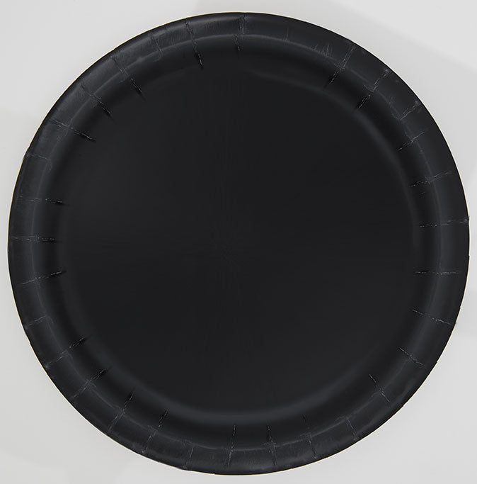 "16 Midnight Black 9"" Plates from Pop Cloud Bristol who offer a huge range of partyware, wedding and event hire decorations"