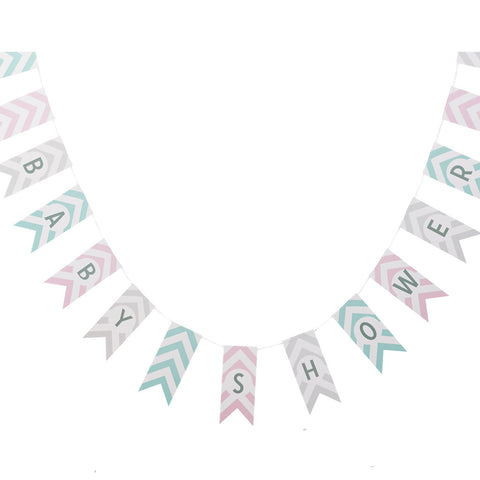 Chevron Divine Baby Shower Bunting from Pop Cloud Bristol who offer a huge range of partyware, wedding and event hire decorations
