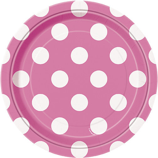 "8 Hot Pink Dots 7"" Platefrom Pop Cloud Bristol who offer a huge range of partyware, wedding and event hire decorations"