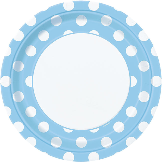 POWDER BLUE DOT PLATES from Flingers Party World Bristol Harbourside who offer a huge range of fancy dress costumes and partyware items