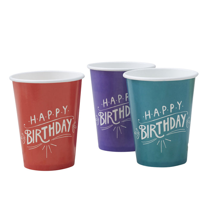 Happy Birthday Kraft Paper Cups from Pop Cloud Bristol who offer a huge range of partyware, wedding and event hire decorations