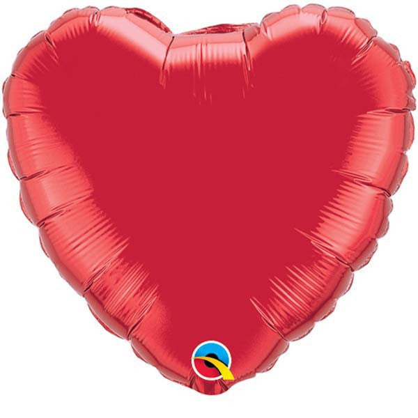 "Ruby Red Plain Foil Heart 18"" Balloon from Pop Cloud Bristol who offer a huge range of partyware, wedding and event hire decorations"