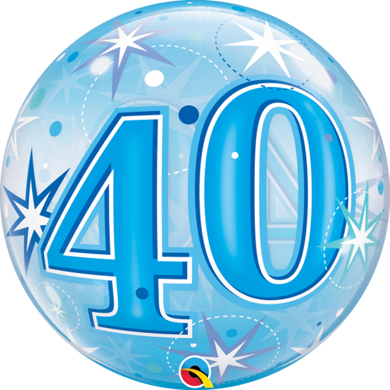 40TH BLUE SPARKLE BUBBLE from Flingers Party World Bristol Harbourside who offer a huge range of fancy dress costumes and partyware items