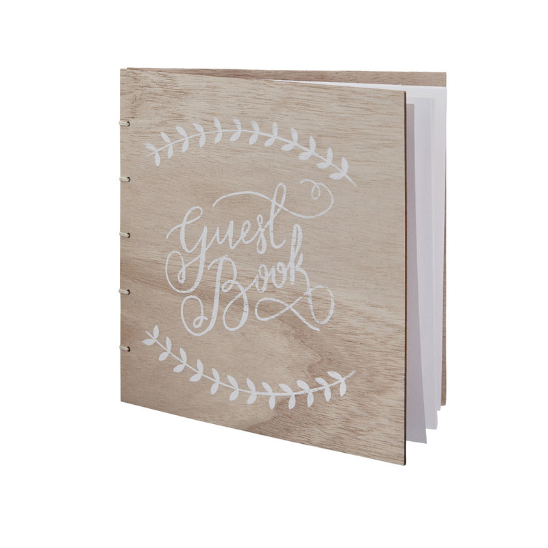 WOODEN WEDDING GUEST BOOK from Flingers Party World Bristol Harbourside who offer a huge range of fancy dress costumes and partyware items
