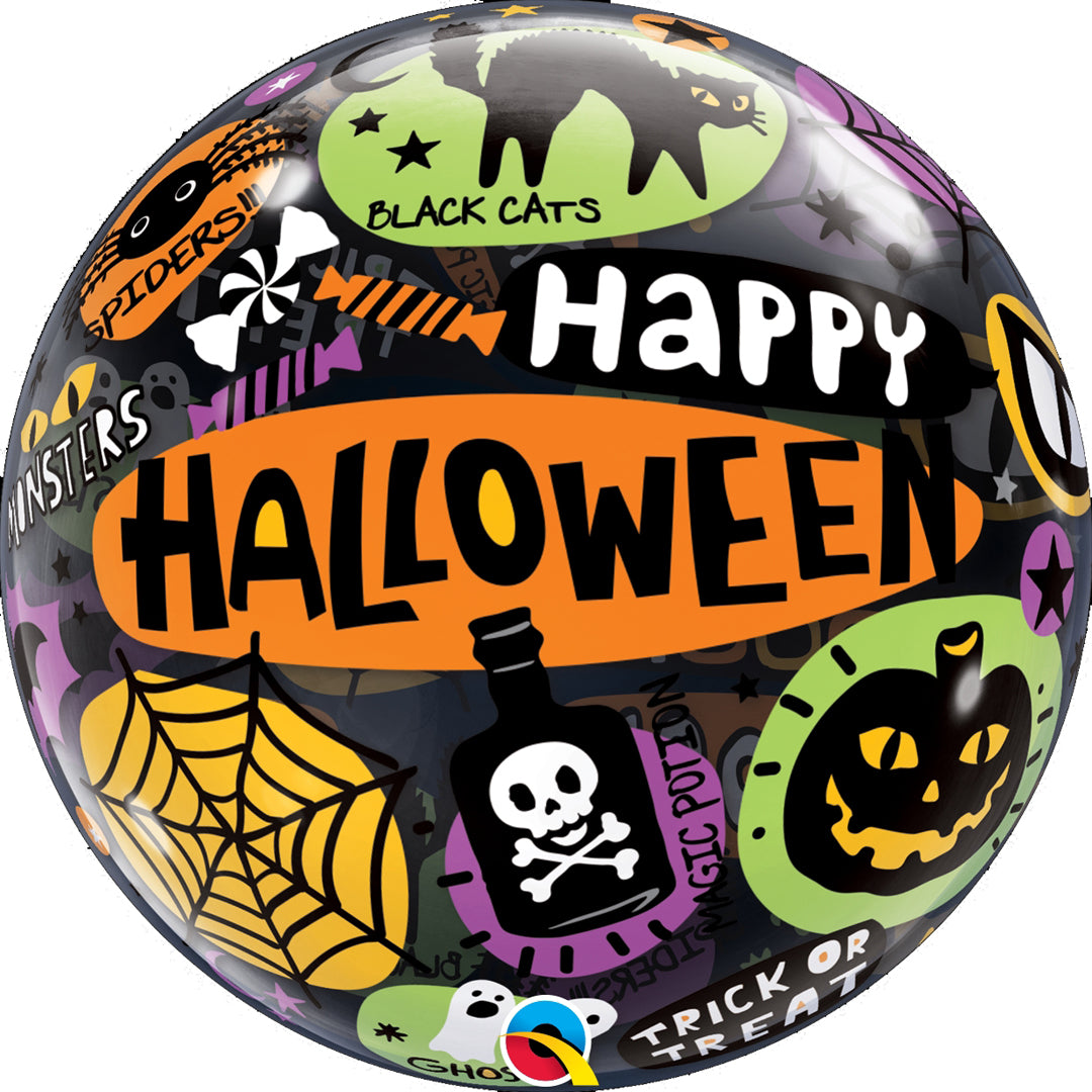 HAPPY HALLOWEEN BUBBLE BALLOON from Flingers Party World Bristol Harbourside who offer a huge range of fancy dress costumes and partyware items