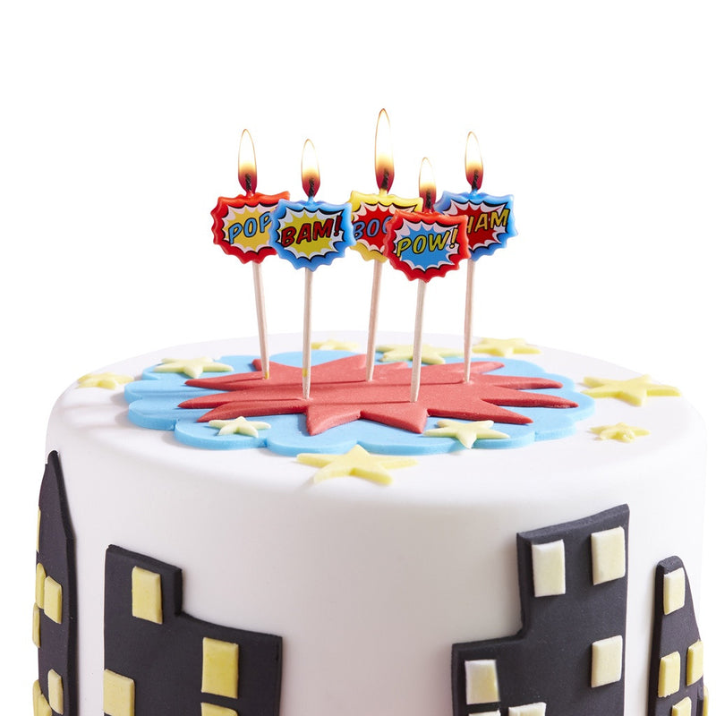 Pop Art Party Candles from Pop Cloud Bristol who offer a huge range of partyware, wedding and event hire decorations