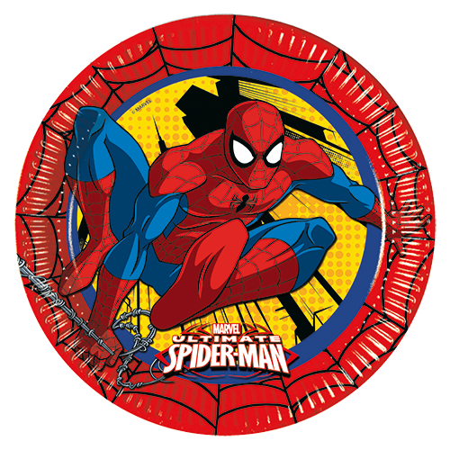 ULTIMATE SPIDERMAN PARTY PAPER PLATES from Flingers Party World Bristol Harbourside who offer a huge range of fancy dress costumes and partyware items