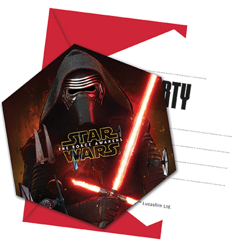 Star Wars The Force Awakens Invitations & Envelopes from Pop Cloud Bristol who offer a huge range of partyware, wedding and event hire decorations