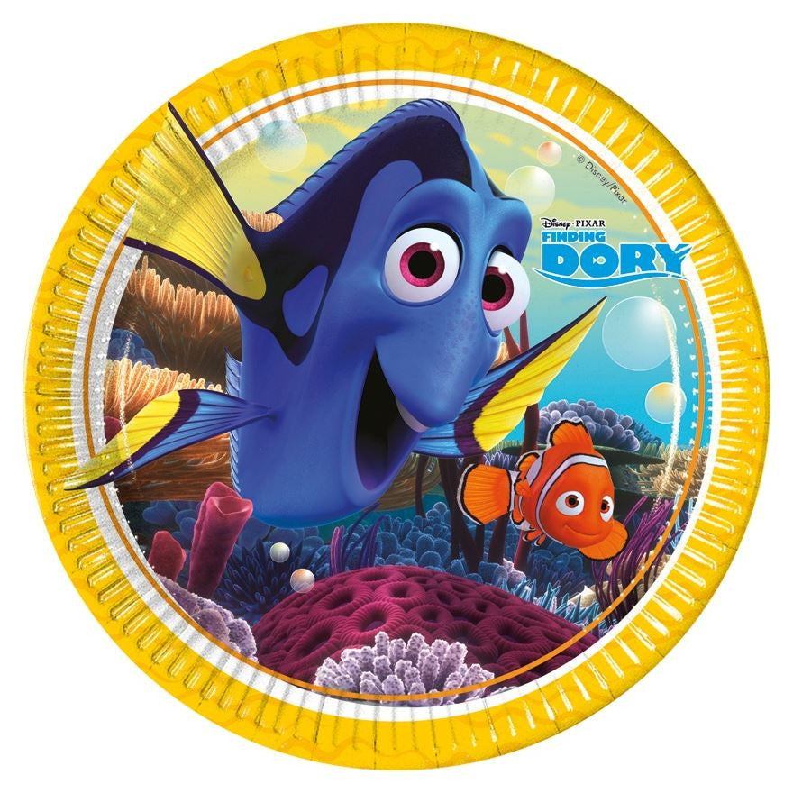 Finding Dory Party Paper Plates 8ct from Pop Cloud Bristol who offer a huge range of partyware, wedding and event hire decorations