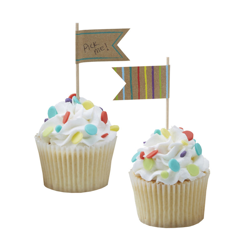 Happy Birthday Kraft Cupcake Toppers from Pop Cloud Bristol who offer a huge range of partyware, wedding and event hire decorations