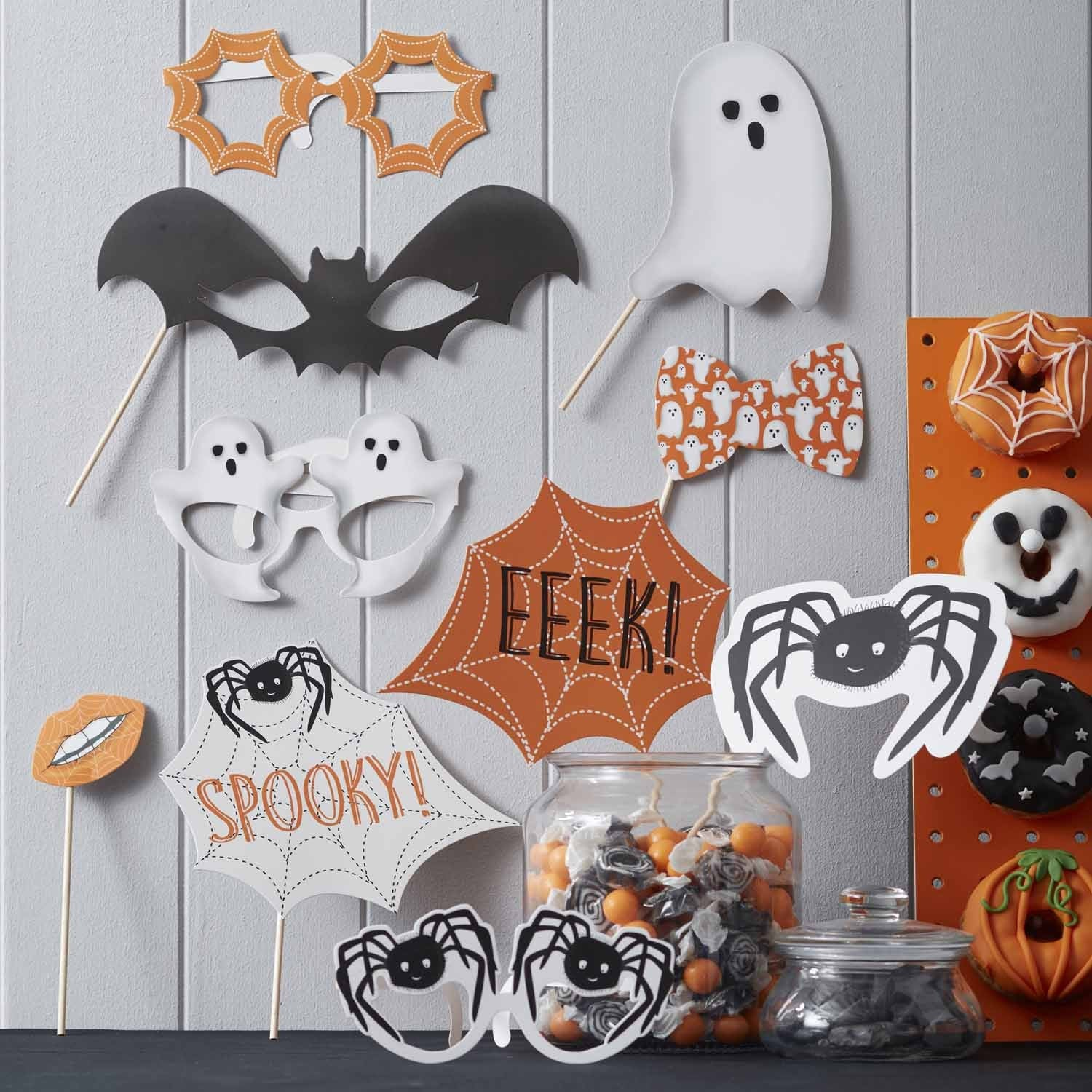 SPOOKY SPIDER PHOTO BOOTH PROPS from Flingers Party World Bristol Harbourside who offer a huge range of fancy dress costumes and partyware items