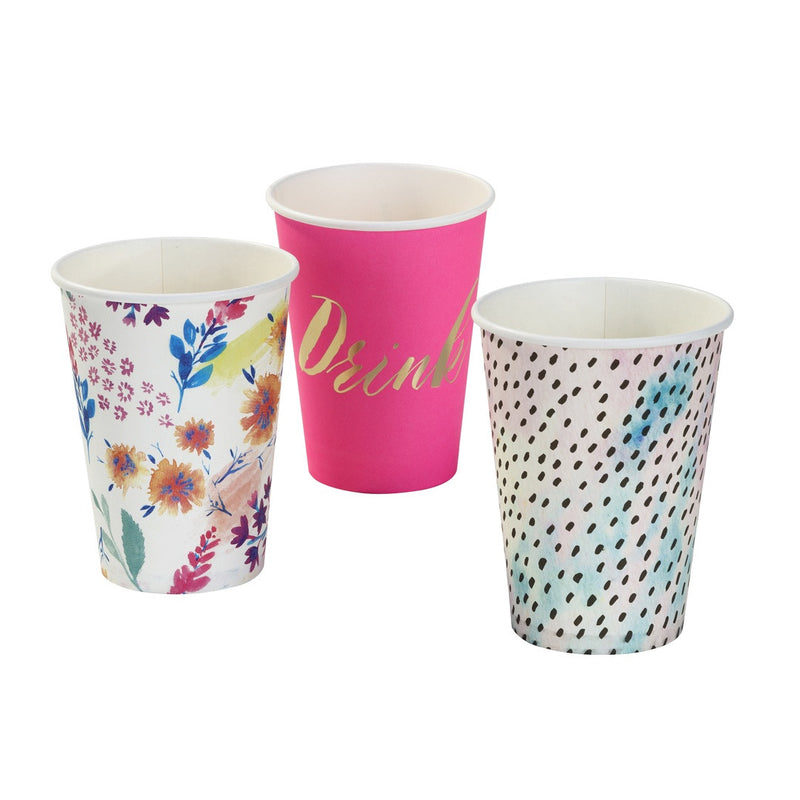Fluorescent Floral Large Cups from Pop Cloud Bristol who offer a huge range of partyware, wedding and event hire decorations