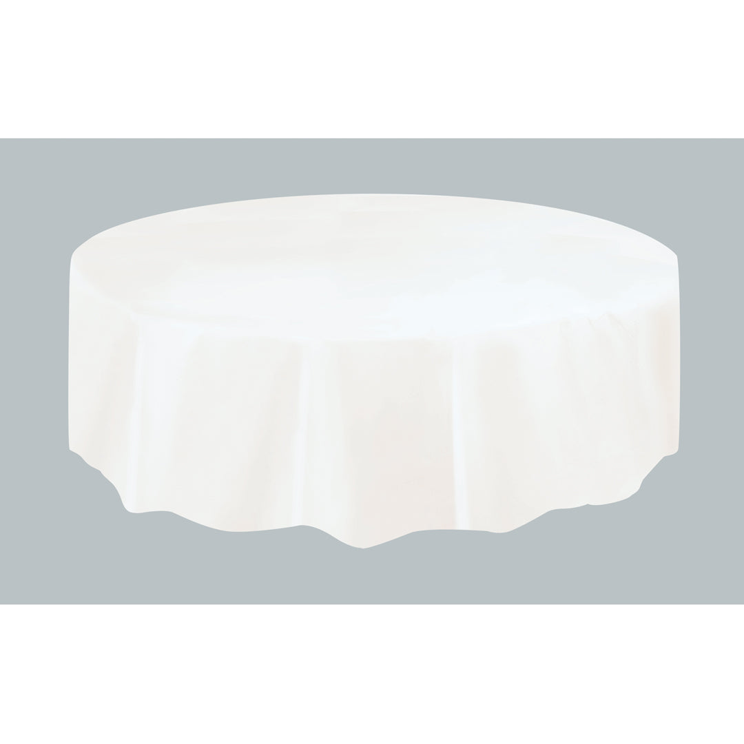 WHITE ROUND TABLECOVER from Flingers Party World Bristol Harbourside who offer a huge range of fancy dress costumes and partyware items
