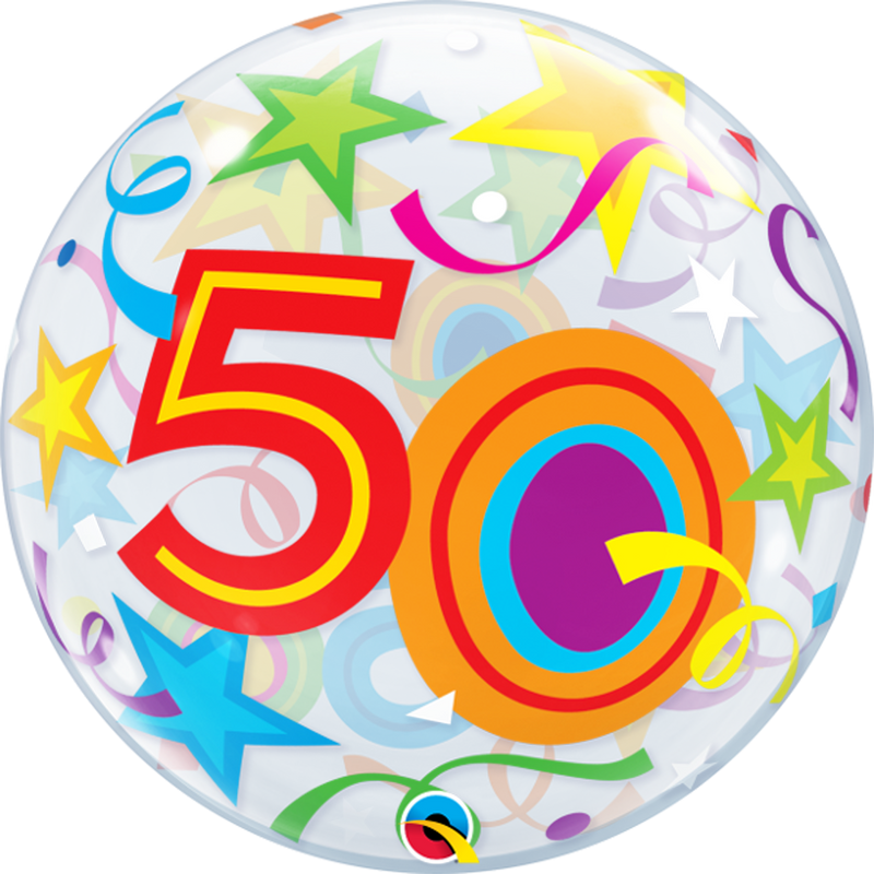 50TH BIRTHDAY STAR BUBBLE from Flingers Party World Bristol Harbourside who offer a huge range of fancy dress costumes and partyware items