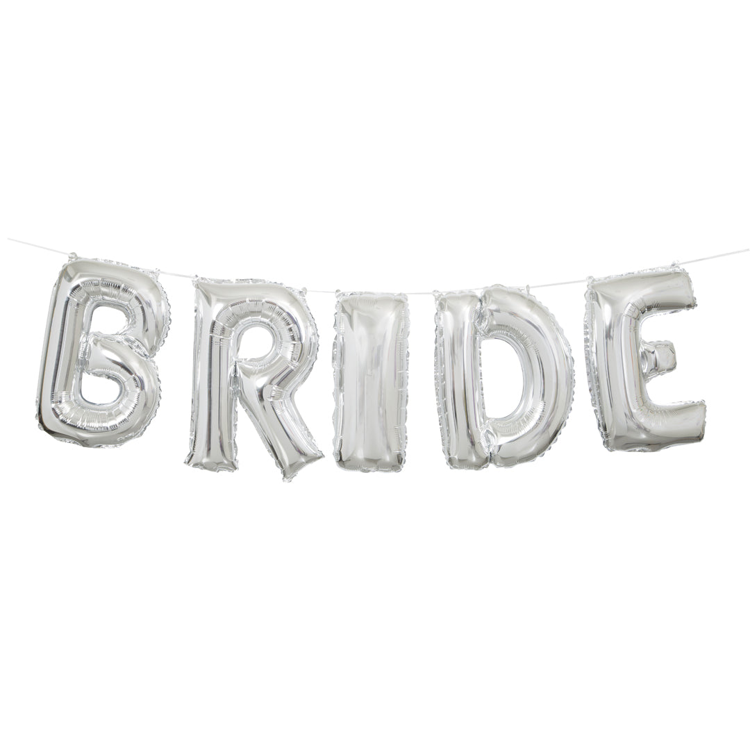 SILVER 'BRIDE' BALLOON BANNER KIT from Flingers Party World Bristol Harbourside who offer a huge range of fancy dress costumes and partyware items