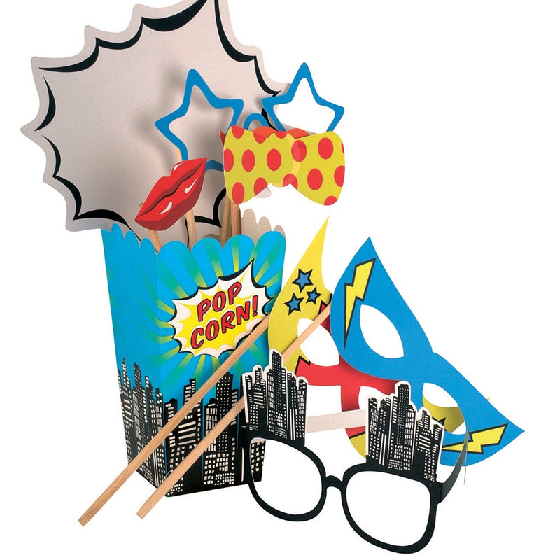 Pop Art Party Photo Booth Props from Pop Cloud Bristol who offer a huge range of partyware, wedding and event hire decorations