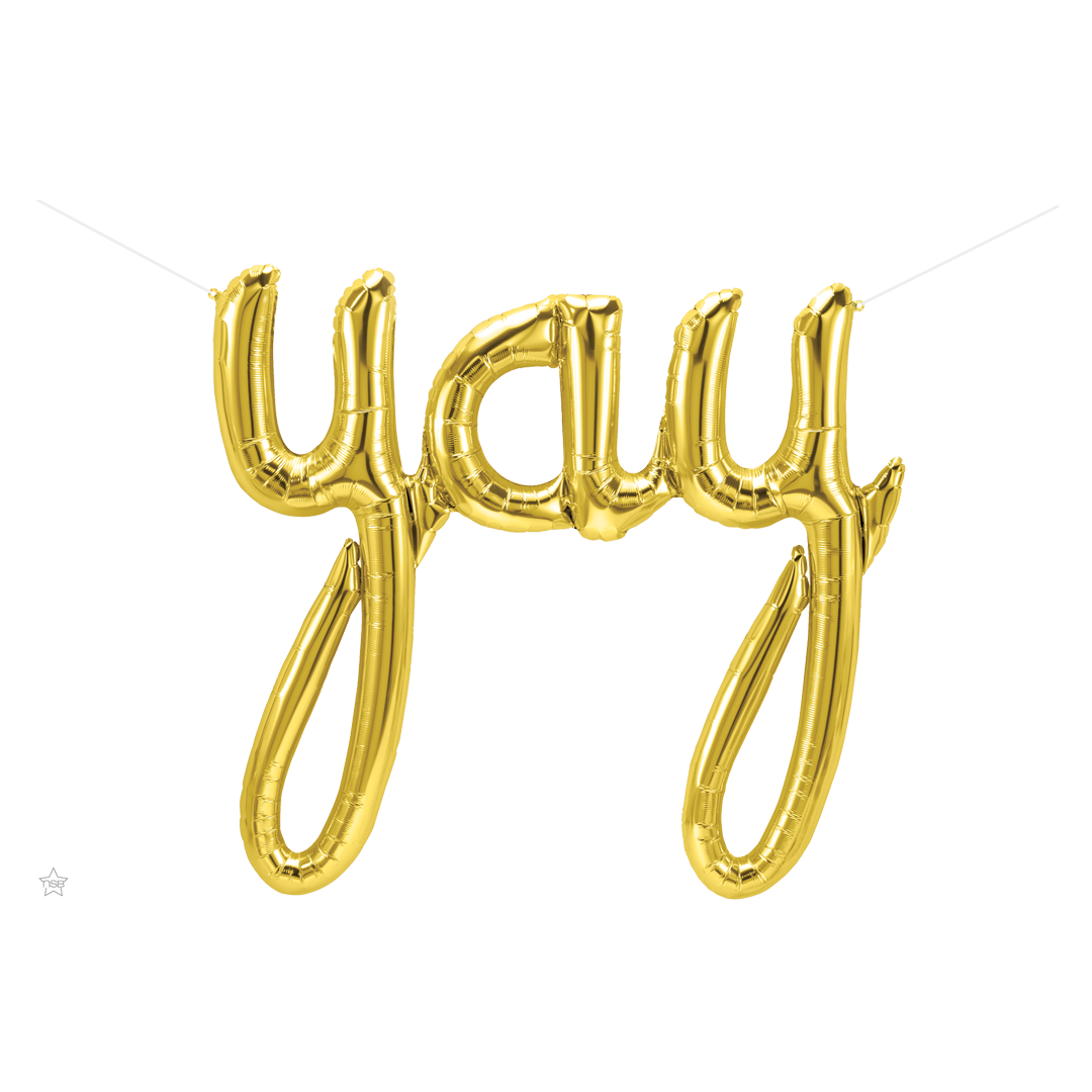 GOLD YAY SCRIPT AIR-FILLED BALLOON BANNER from Flingers Party World Bristol Harbourside who offer a huge range of fancy dress costumes and partyware items
