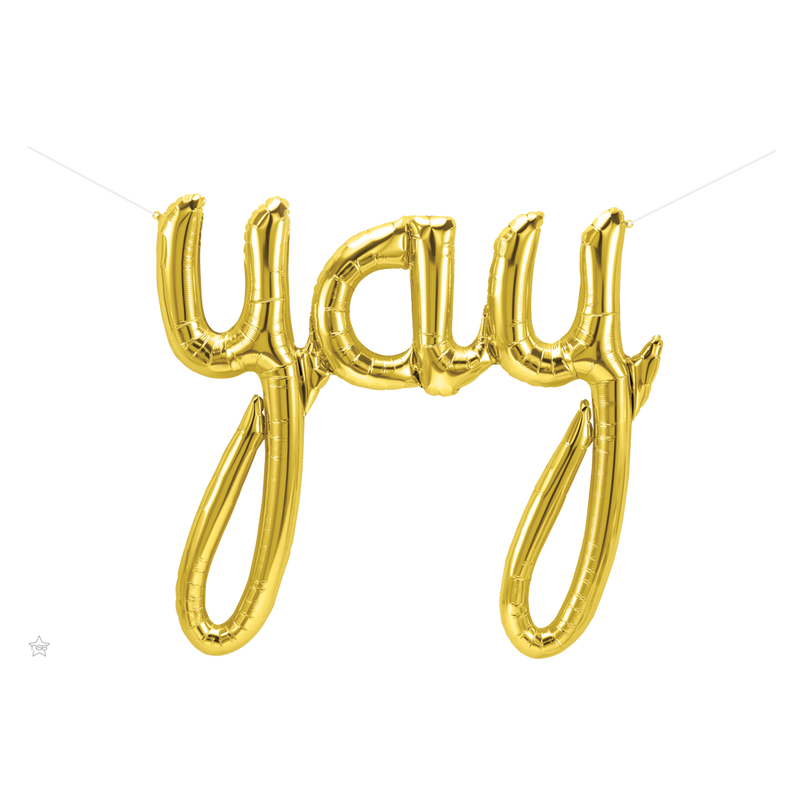 GOLD YAY SCRIPT AIR-FILLED BALLOON BANNER