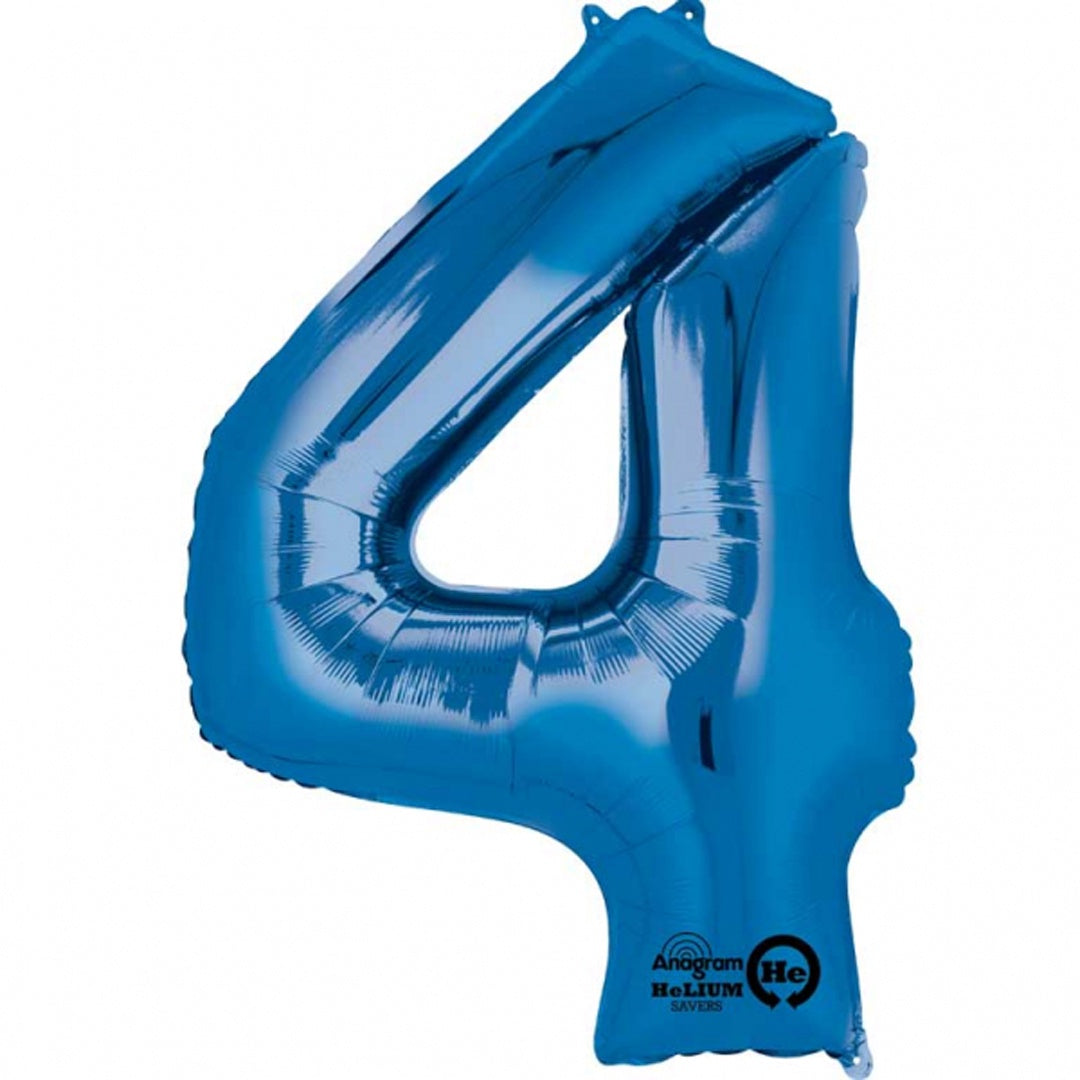 BLUE 4 LARGE FOIL NUMBER BALLOON from Flingers Party World Bristol Harbourside who offer a huge range of fancy dress costumes and partyware items