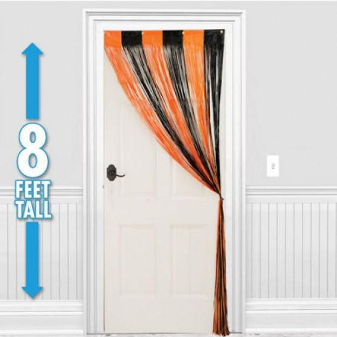 BLACK AND ORANGE DOOR CURTAIN from Flingers Party World Bristol Harbourside who offer a huge range of fancy dress costumes and partyware items
