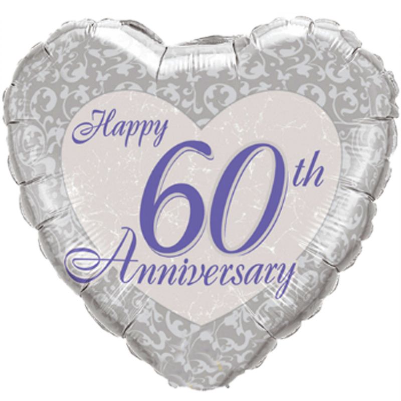 HAPPY 60TH ANNIVERSARY HEART from Flingers Party World Bristol Harbourside who offer a huge range of fancy dress costumes and partyware items