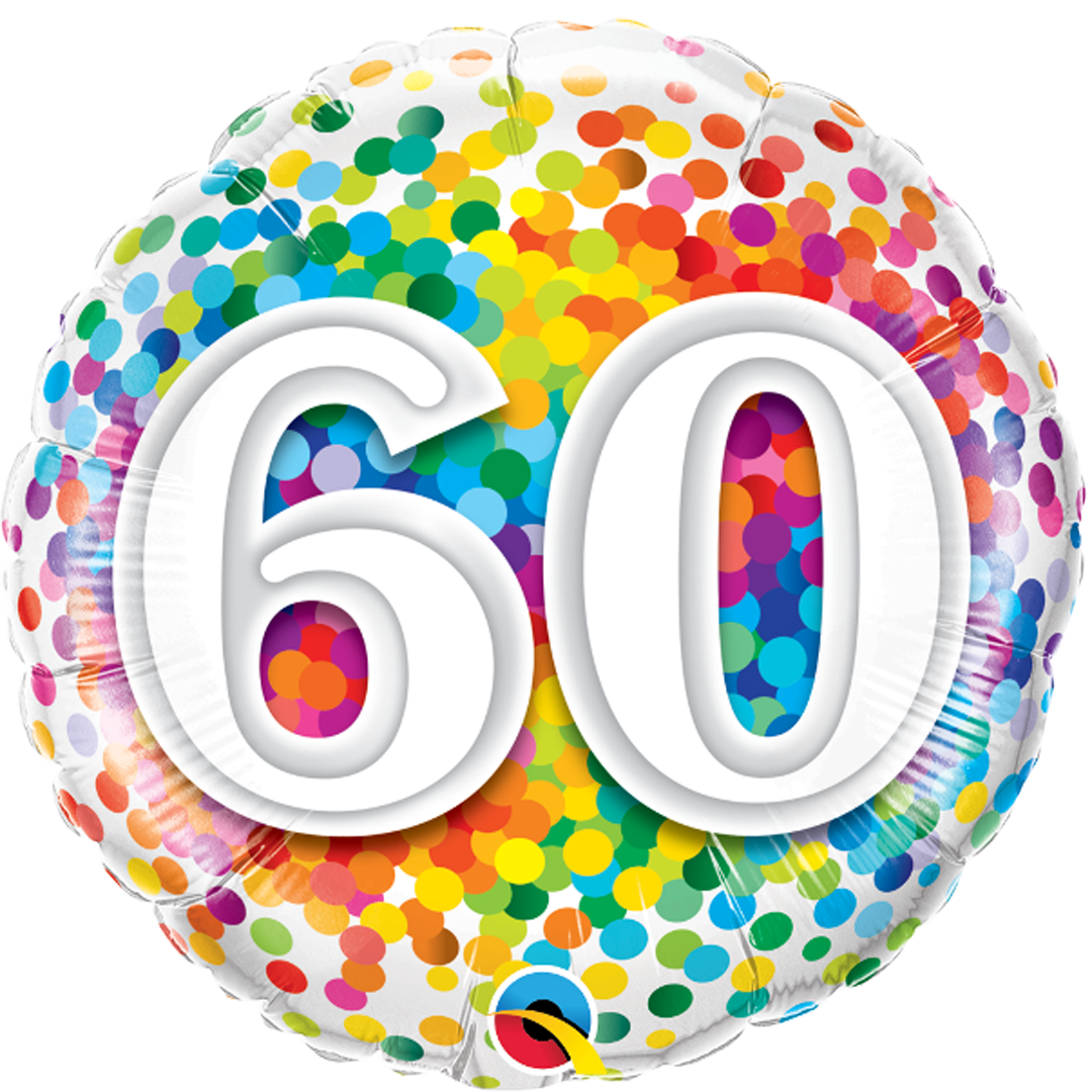 60TH BIRTHDAY RAINBOW CONFETTI from Flingers Party World Bristol Harbourside who offer a huge range of fancy dress costumes and partyware items