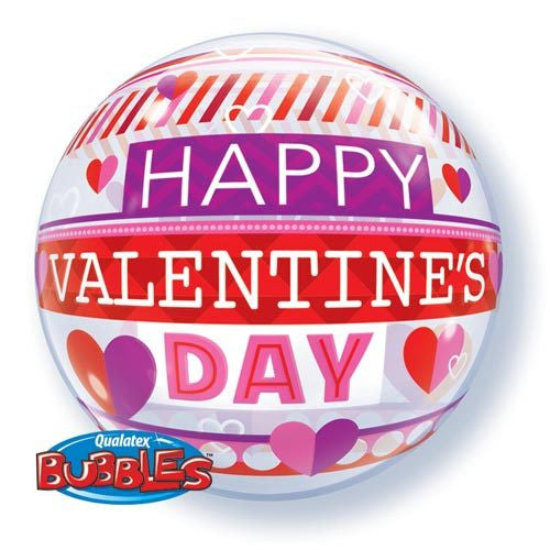"VALENTINE'S STRIPE PATTERNS 22"" BUBBLE BALLOON from Flingers Party World Bristol Harbourside who offer a huge range of fancy dress costumes and partyware items"