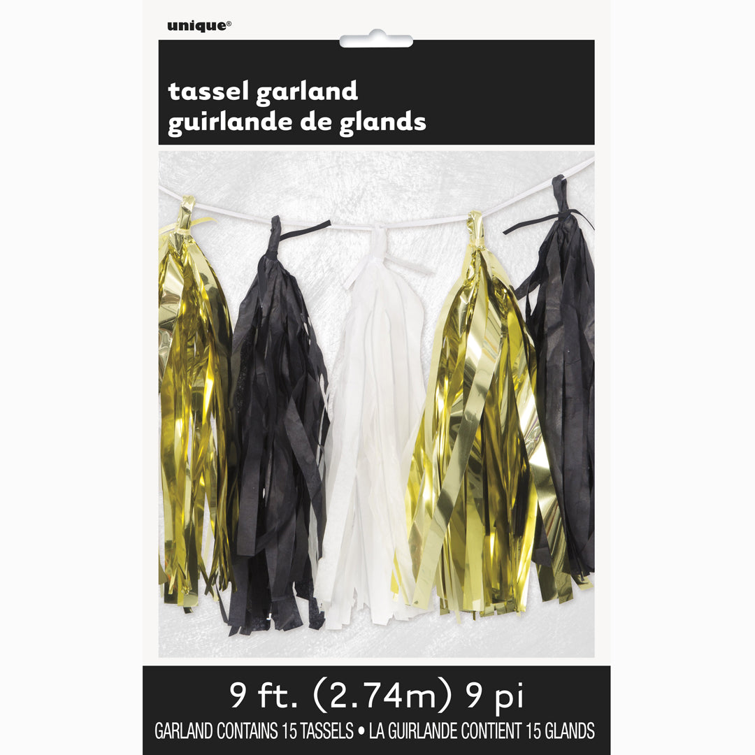 GOLD, WHITE & BLACK TASSEL GARLAND from Flingers Party World Bristol Harbourside who offer a huge range of fancy dress costumes and partyware items