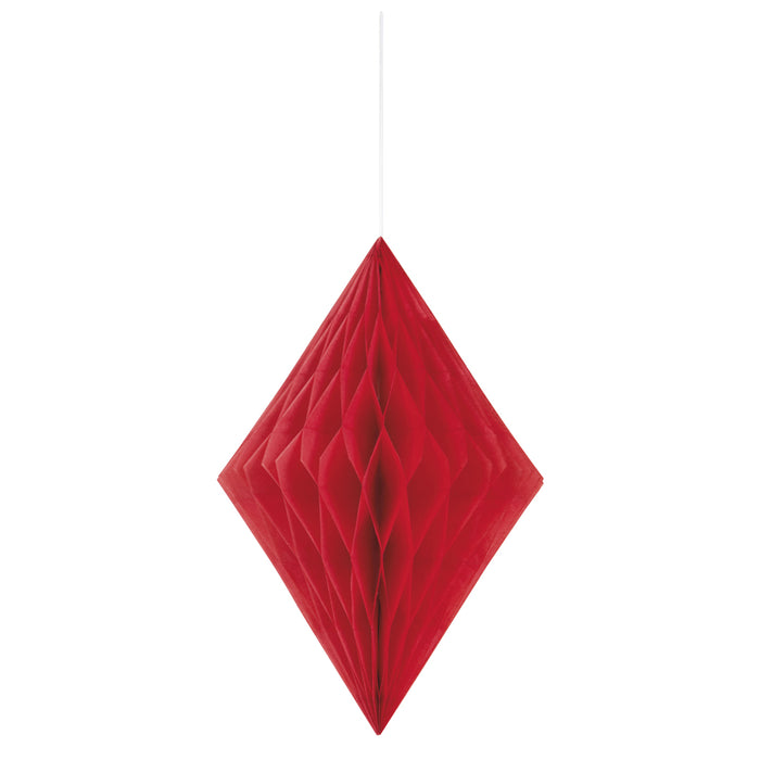 RED HONEYCOMBE HANGING DECORATION from Flingers Party World Bristol Harbourside who offer a huge range of fancy dress costumes and partyware items