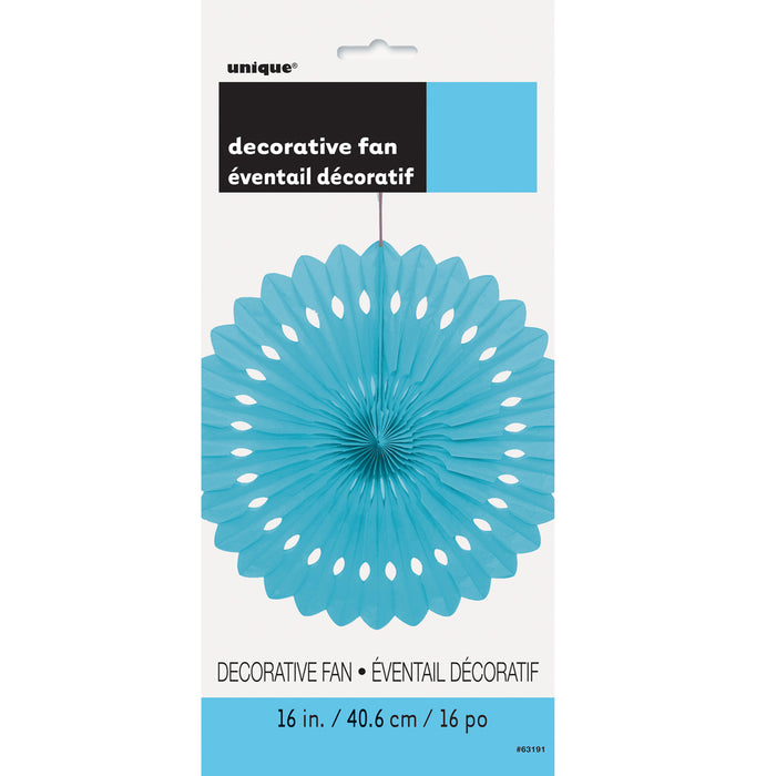 BLUE DECORATIVE FAN from Flingers Party World Bristol Harbourside who offer a huge range of fancy dress costumes and partyware items