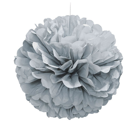 "Puff Decor 16"" Silver from Pop Cloud Bristol who offer a huge range of partyware, wedding and event hire decorations"