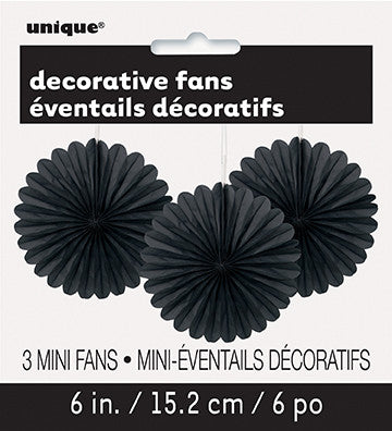 "3 Decor Fan 6"" Black from Pop Cloud Bristol who offer a huge range of partyware, wedding and event hire decorations"