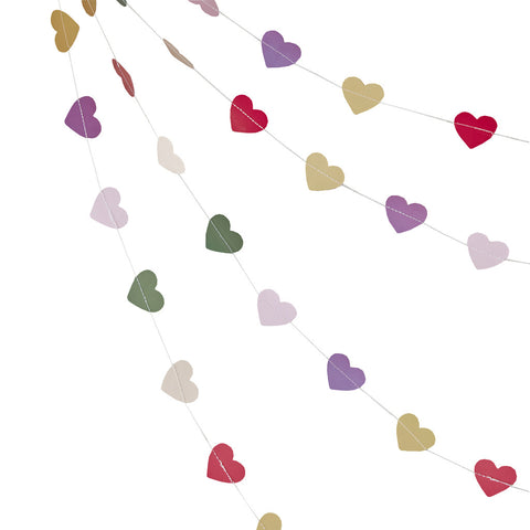 Colourful Mini Heart Bunting from Pop Cloud Bristol who offer a huge range of partyware, wedding and event hire decorations
