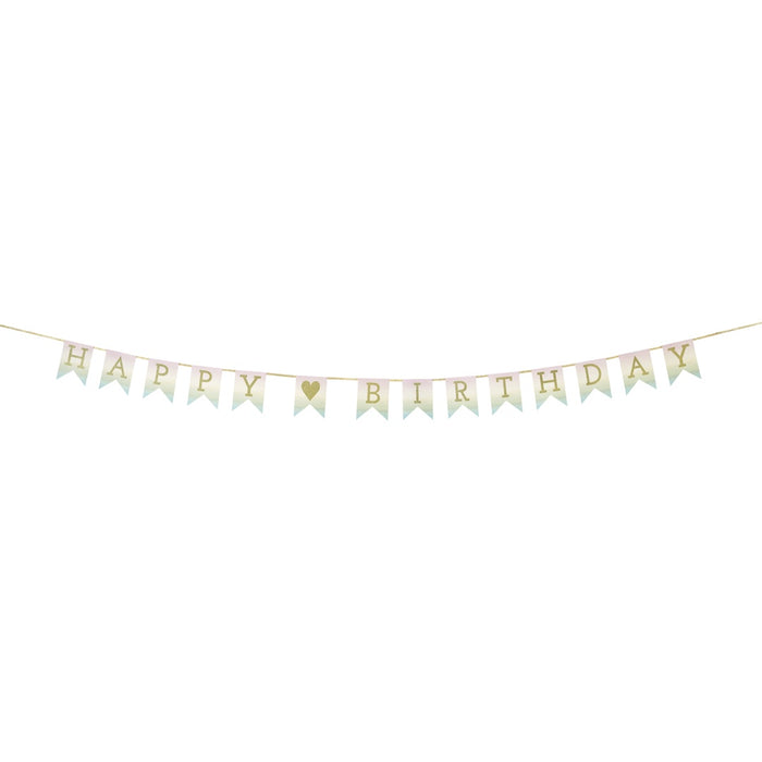 HAPPY BIRTHDAY PASTEL GARLAND from Pop Cloud Bristol www.popcloud.co.uk who offer a huge range of partyware, wedding and event hire decorations