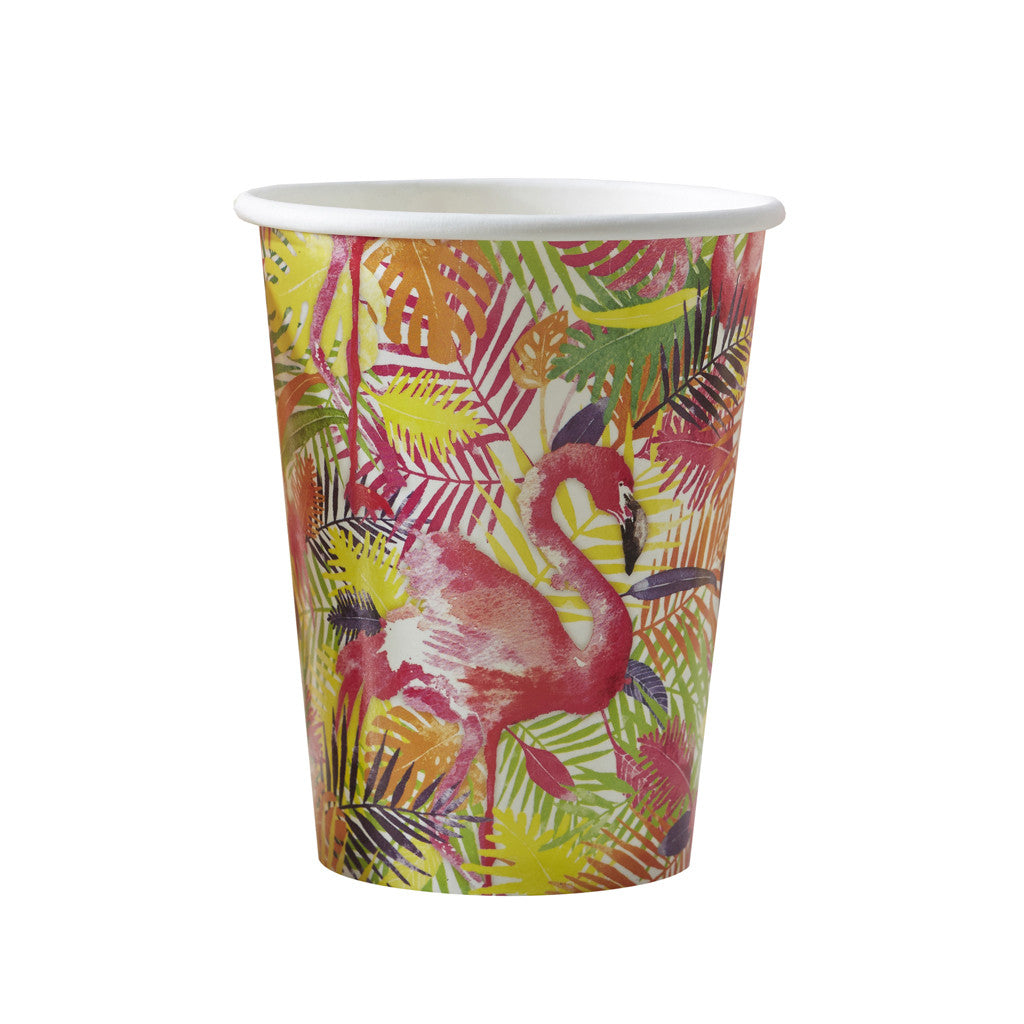 Flamingo Fun Paper Cups from Pop Cloud Bristol who offer a huge range of partyware, wedding and event hire decorations