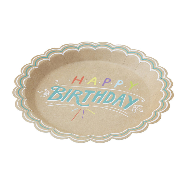 Happy Birthday Kraft Paper Plates from Pop Cloud Bristol who offer a huge range of partyware, wedding and event hire decorations