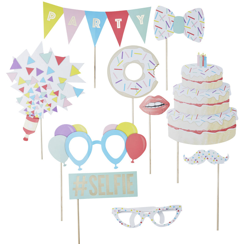 Pick & Mix Photo Booth Props from Pop Cloud Bristol who offer a huge range of partyware, wedding and event hire decorations