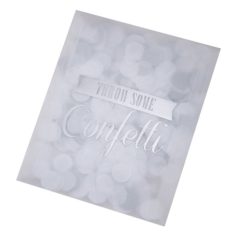 Silver Confetti Envelopes from Pop Cloud Bristol who offer a huge range of partyware, wedding and event hire decorations