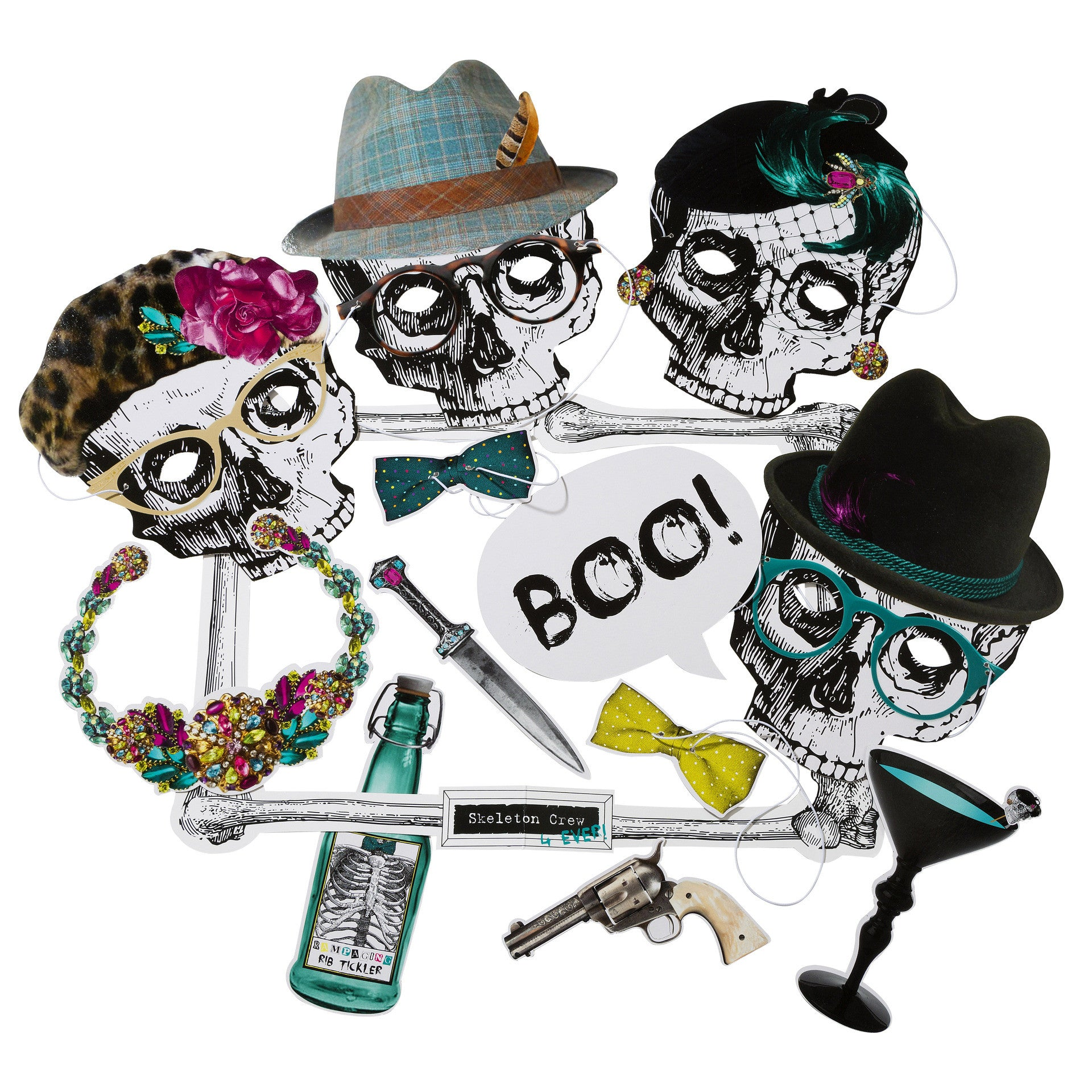 SKELETON CREW PHOTO BOOTH PROPS from Flingers Party World Bristol Harbourside who offer a huge range of fancy dress costumes and partyware items
