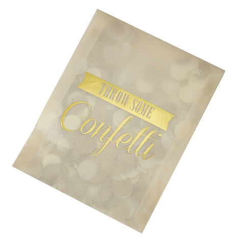 Gold Confetti Envelopes from Pop Cloud Bristol who offer a huge range of partyware, wedding and event hire decorations