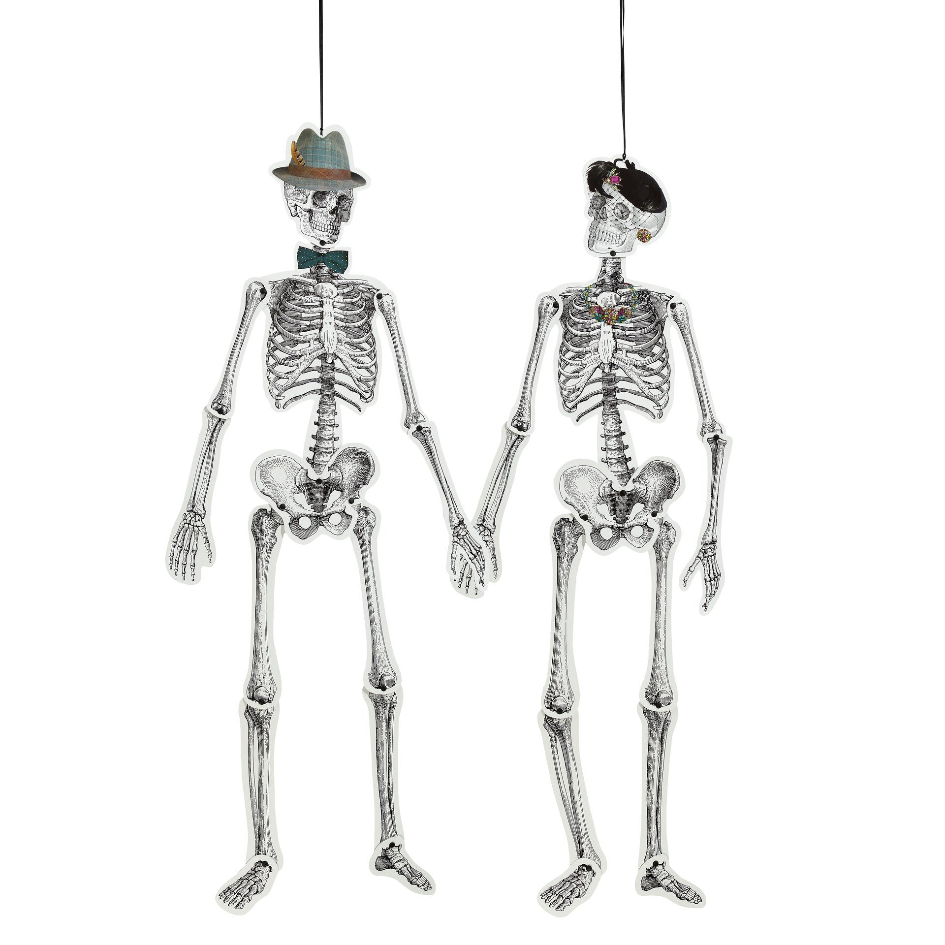 SKELETON CREW MR & MRS BONES HANGING DECORATION from Flingers Party World Bristol Harbourside who offer a huge range of fancy dress costumes and partyware items