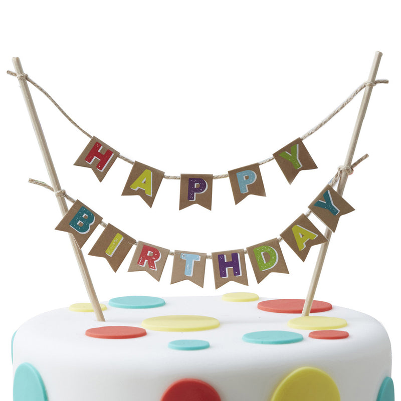 HAPPY BIRTHDAY KRAFT CAKE BUNTING from Flingers Party World Bristol Harbourside who offer a huge range of fancy dress costumes and partyware items