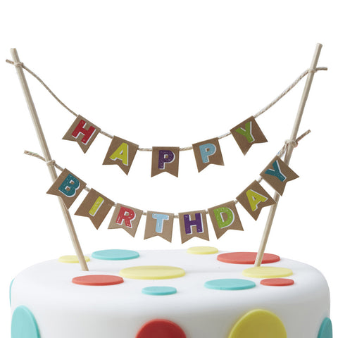 Happy Birthday Kraft Cake Bunting from Pop Cloud Bristol who offer a huge range of partyware, wedding and event hire decorations
