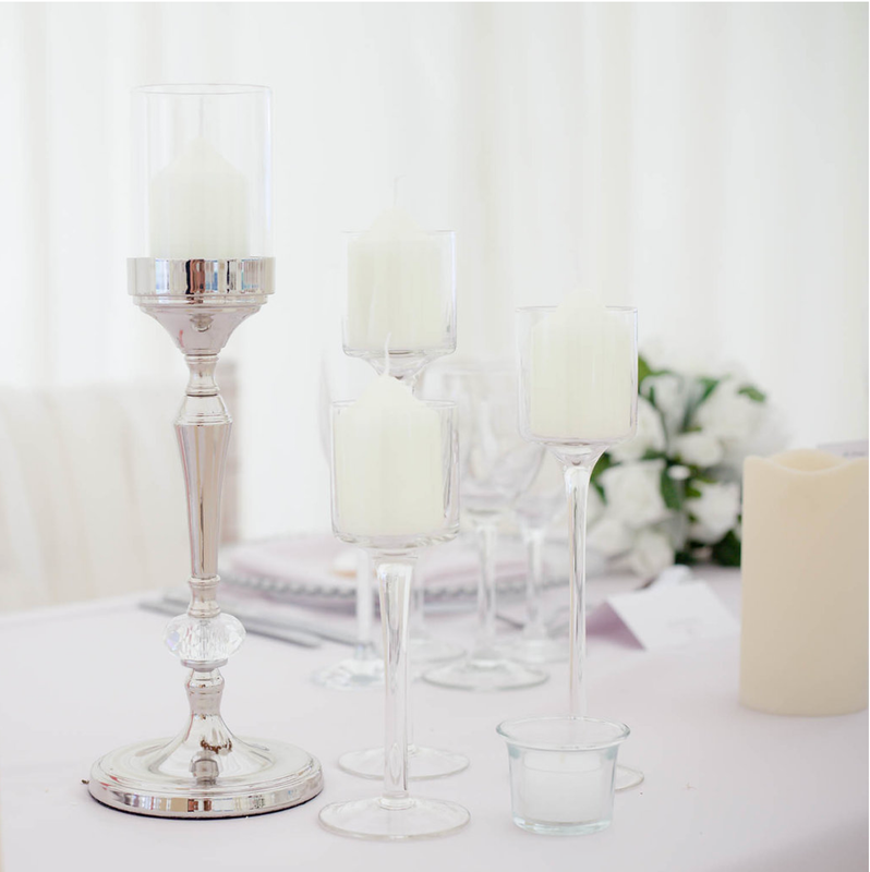 Silver Candle Holder from Pop Cloud Bristol who offer a huge range of partyware, wedding and event hire decorations