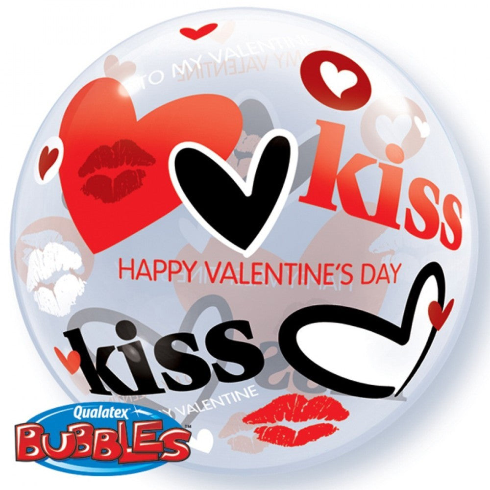 "VALENTINE'S KISSES & HEARTS 22"" BUBBLE BALLOON from Flingers Party World Bristol Harbourside who offer a huge range of fancy dress costumes and partyware items"