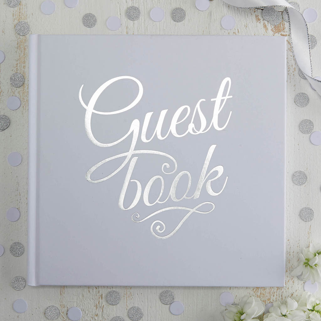 Metallic Perfection White & Silver Guest Book from Pop Cloud Bristol who offer a huge range of partyware, wedding and event hire decorations