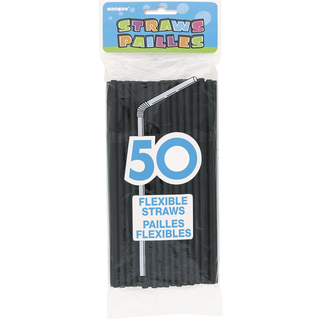 50 CT FLEX STRAWS BLACK from Flingers Party World Bristol Harbourside who offer a huge range of fancy dress costumes and partyware items